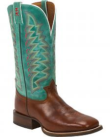Tony Lama Cognac Crockett 3R Western Cowboy Boots - Square Toe