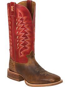 Tony Lama Tan Cuero 3R Western Cowboy Boots - Square Toe