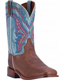 Dan Post Men's Brown/Turquoise Crockett Cowboy Boots - Broad Square Toe