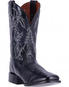 Dan Post Men's Black Smooth Ostrich Callahan Cowboy Boots - Broad Square Toe