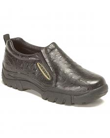 Roper Ostrich Print Leather Slip-On Shoes