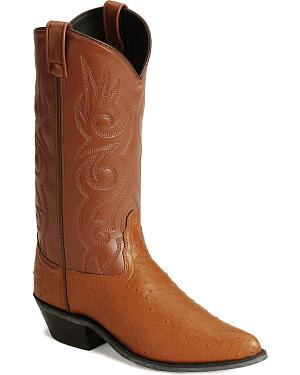 Old West Fancy Stitched Ostrich Print Cowboy Boots - Pointed Toe