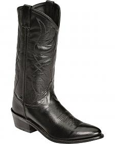 Old West Smooth Leather Cowboy Boots - Medium Toe