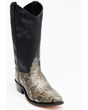 Old West Snake Printed Cowboy Boots