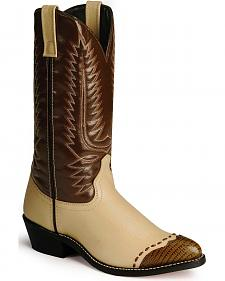 Laredo Lizard Print Wingtip Cowboy Boots