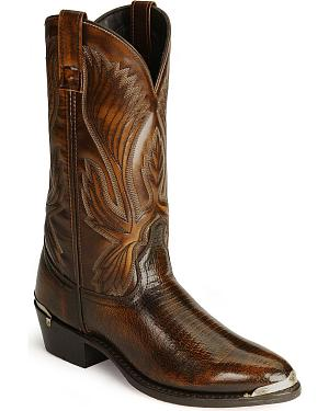 Laredo Lizard Print Cowboy Boots - Round Toe
