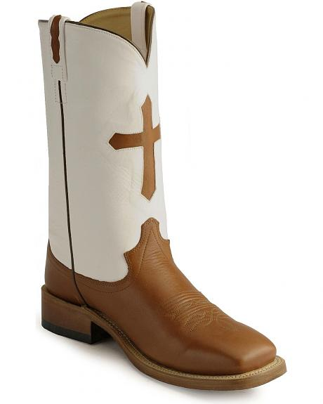 Old West Cross Inlay Cowboy Boots