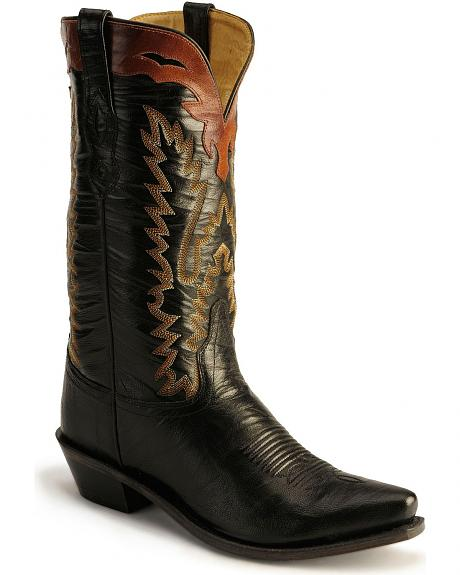 Old West Black Cowboy Boots - Snip Toe