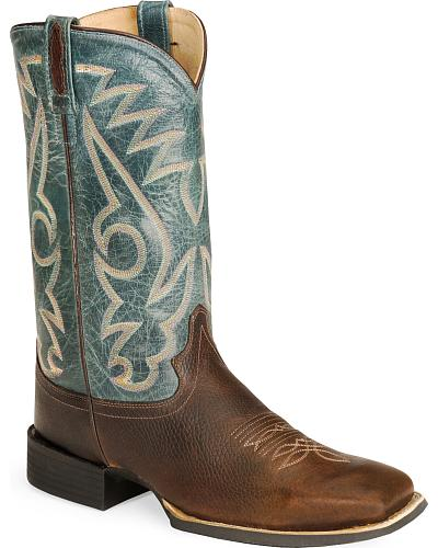 Old West Cowboy Boots Wide Sq Toe Western & Country BSM1872