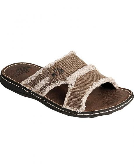 Justin Bent Rail Frayed Canvas Slide Sandals