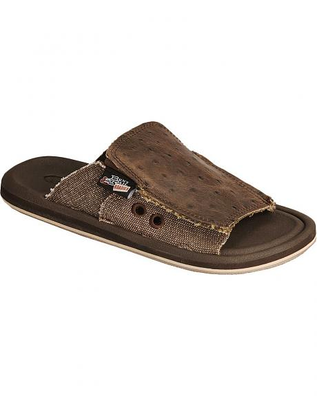 Justin Bent Rail Ostrich Print Leather Slide Sandals