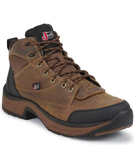 Justin Stampede Waterproof Lace-Up Casual Shoes - Round Toe