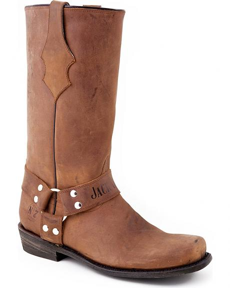 Jack Daniel's Pull-On Harness Motorcycle Boots - Square Toe