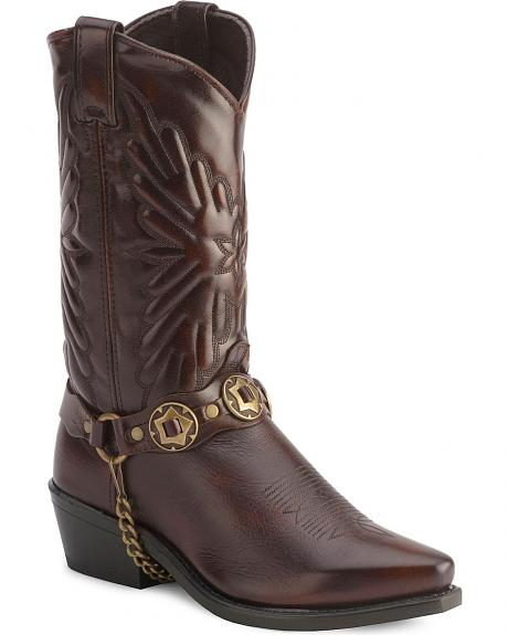 Sage by Abilene Fancy Stitched Harness Cowboy Boots - Snip Toe