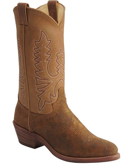 Abilene Flesh-out Cowhide Cowboy Boots - Round Toe