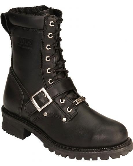 Bates Ormond Lace-Up Buckle Harness Motorcycle Boots - Round Toe