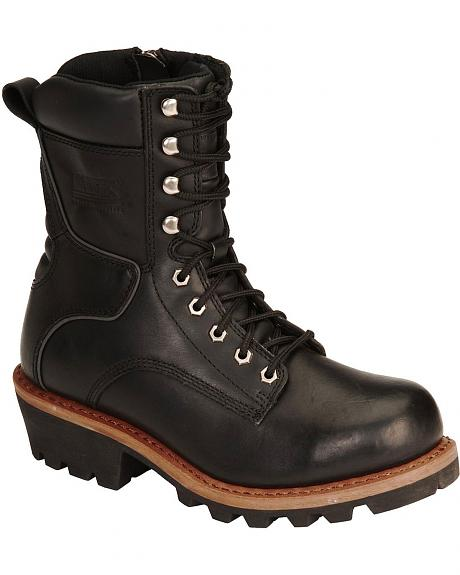 Bates Talimena Lace-Up Logger Motorcycle Boots - Round Toe