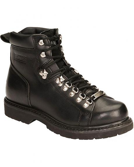 Bates Black Canyon Lace-Up Motorcycle Boots - Round Toe