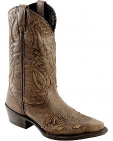 Laredo Crackle Goat Thomson Wingtip Cowboy Boots - Snip Toe