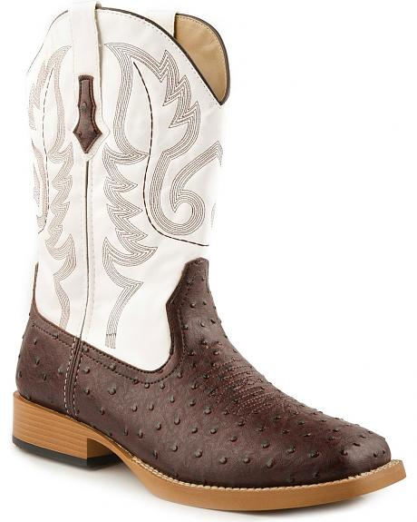 Roper Faux Leather Ostrich Print Cowboy Boots - Square Toe
