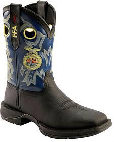 Durango FFA Logo Black Cowboy Boots - Square Toe