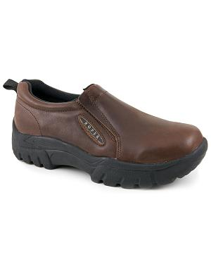 Roper Performance Smooth Leather Slip-On Shoes - Round Toe