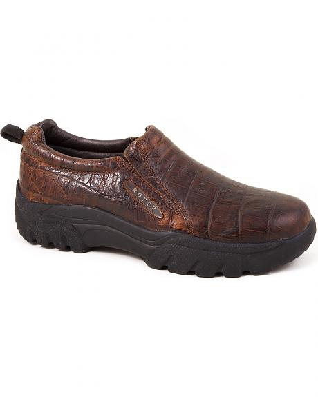 Roper Performance Croc Print Slip-On Shoes - Round Toe