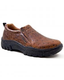 Roper Performance Ostrich Print Slip-On Shoes - Round Toe
