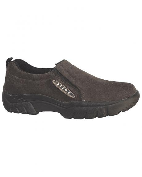 Roper Performance Wide Width Suede Slip-On Shoes - Round Toe