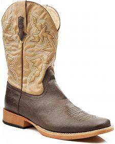 Roper Tan Faux Leather Cowboy Boots - Square Toe