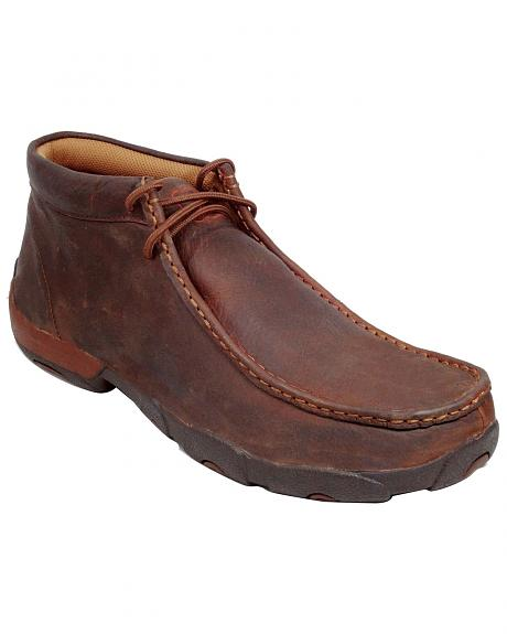 Twisted X Driving Lace-Up Moccasin Shoes - Round Toe