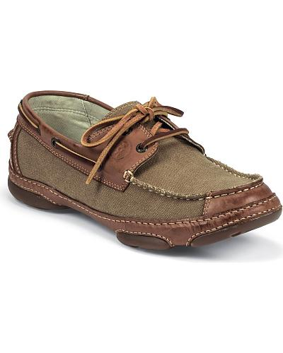 Tony Lama Canvas & Leather Lace-Up Boat Shoes Western & Country RR3028