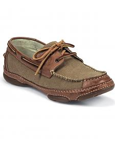 Tony Lama Canvas & Leather Lace-Up Boat Shoes