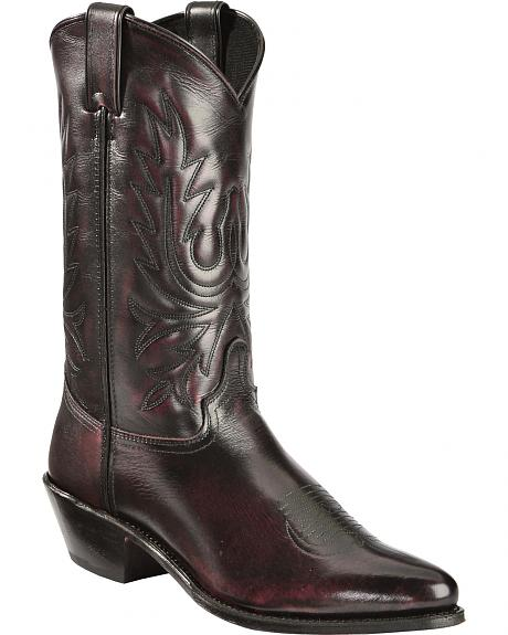 Abilene Black Cherry Polished Cowhide Boots - Medium Toe