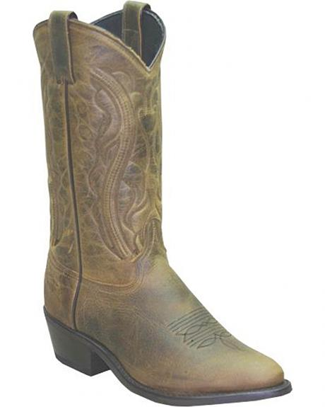 Sage by Abilene Oiled Cowhide Olive Brown Boots - Medium Toe