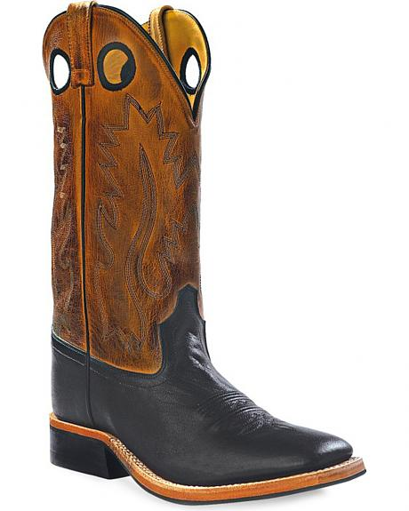 Old West Men's Round Hole Western Cowboy Boots - Square Toe