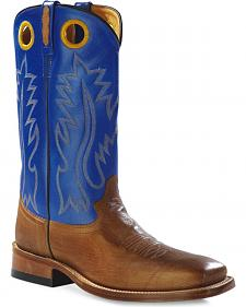 Old West Men's Round Hole Two-Tone Western Cowboy Boots - Square Toe
