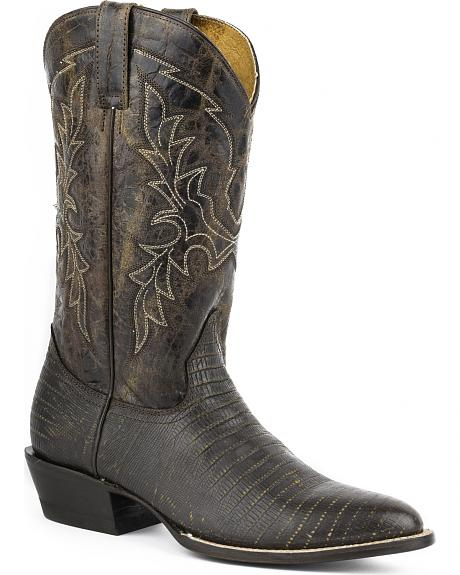 Roper Lizard Print Tall Cowboy Boots - Round Toe