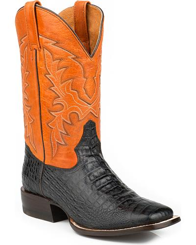 Roper Faux Caiman Belly Cowboy Boots - Square Toe