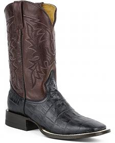 Roper Faux Exotic Caiman Print Leather Cowboy Boots