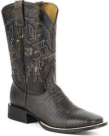 Roper Lizard Print Cowboy Boots - Square Toe