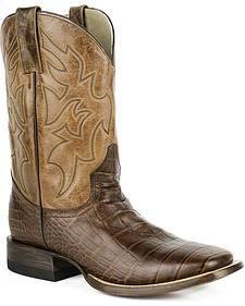 Roper Croc Print Tall Cowboy Boots - Square Toe