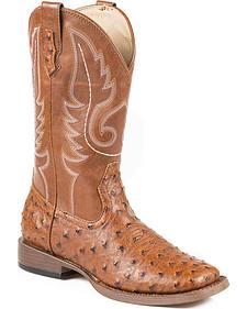 Roper Faux Ostrich Cowboy Boots - Square Toe