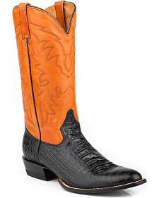 Roper Men's Faux Alligator Orange Leather Cowboy Boots - Medium Toe