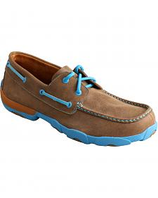 Twisted X  Men's Brown and Neon Blue Driving Mocs