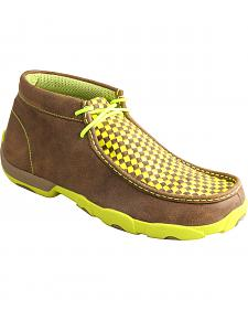 Twisted X Men's Yellow and Brown Checkerboard Driving Mocs