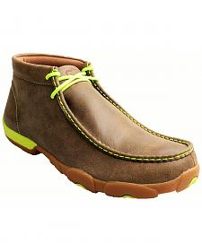Twisted X Men's Brown and Neon Yellow Leather Driving Mocs