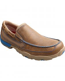 Twisted X Men's Brown and Blue Leather Driving Mocs