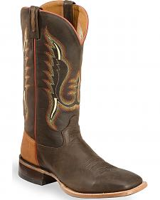 Old West Men's Light Brown and Red Cowboy Boots - Square Toe
