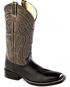 Old West Men's Charcoal Crackle Western Boots - Square Toe